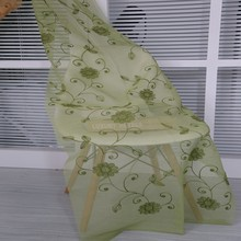 Popular luxury salon hall polyester green embroidery sheer voile fabric curtains