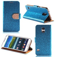 Blue Bling Diamond Flip Wallet PU Case For Samsung Galaxy S5 I9600