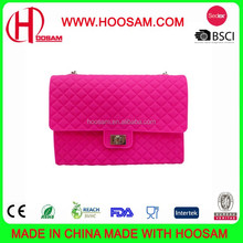 2015 Pretty gift cheap silicone ladies bags with silicone metal handle chain