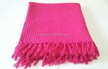 High Quality Fringe Cotton Throw Red Blanket
