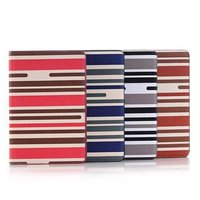 Leather Stripe Wallet Book Case Pouch for iPad Mini4 7.9''