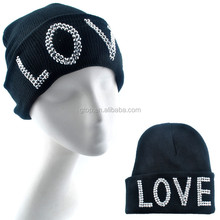 Woman Men Unisex Warm Love Studded Rhinestone Hip-Hop Knit Ski Beanie Hats Cap