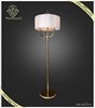 2015 Hot sale classic golden electrophoresis fabric candle floor lamp with crystal ornements