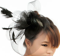 MYLOVE fashion mini top party feather hat with rose MLXM036