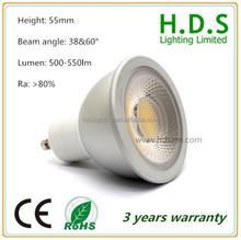 epistar chip High lumen flux 500lm and long lifespan 50000 hrs CRI80 spot bulb 6w
