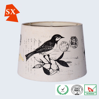 Manual vintage drum birds pvc drum hanging light holder living lamp shade