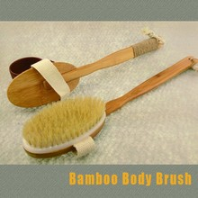 OEM Natural bristle long handle bath brush,bamboo detachable handle bath body brush