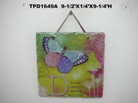 Beautiful Scence Slate Garden Plaque w/Leather Rope Hanger CHIC GIFT