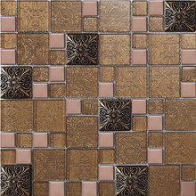 glass mix resin and metal mosaic tile for hotel lobby decoration