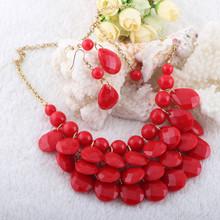2014 Moda Un montón de rojo joyas declaración perlas para las mujeres y de los mejores amigos