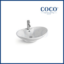 COCO bathroom 650mm ceramic oval boat shape sink counter top wash basin