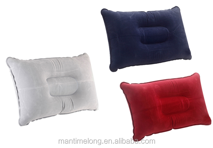 Portable Air Inflatable Pillow Flocking Cushion for Outdoor Camping Plane Hotel