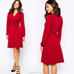 China wholesale women casual wear slim fit wrap front red long sleeve crepe casual dress