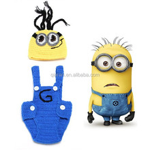 Baby Boy Girl Crochet Despicable Me Costume Outfit Newborn Photo Prop Baby Beanie Hat with Suspenders H170