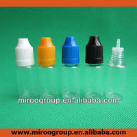10ml PET plastic dropper bottles with childproof cap/ thin long neck, 10ml bottles/ long thin dropper drip tip/ child proof cap