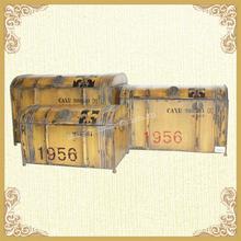 Antique yellow vanity bedside trunk