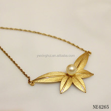 China manufacturer gold filled leaf designs with pearl necklace for girls