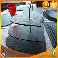 Natural slate 3 tier heart shape wedding cake stand