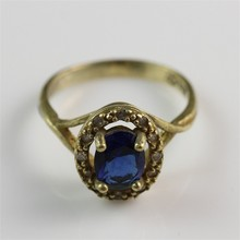 Hot selling! Popular Brass Gold Plated Blue Stone Rings