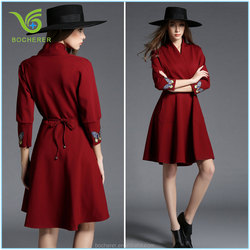 2016 latest fashion Roman cotton wine red long dress for women and ladies