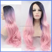Top Grade 2015 New Style wholesale alibaba Beauty Stock Cheap Pink lace wigs Synthetic Hair Lace Front Wig