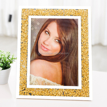 Wide-brimmed golden diamond glass picture photo frame