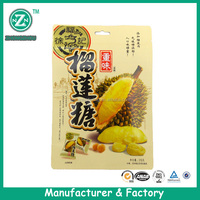 wholesale durian taste candy packing laminated bag with ziplock and euro hole punched