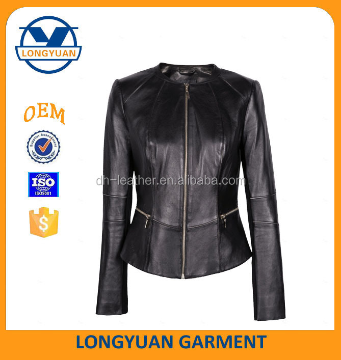 High and fashion wholesale clothing artificial leather jacket women