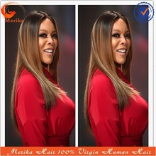 10-24inch abundant stock human hair front lace wig, ombre color celebrity wig for middle age women