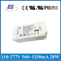 ES 28W 560mA~1250mA AC-DC High Power Constant Current LED Driver with ELV Dimmer