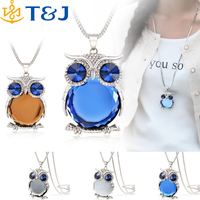 <<4 Colors New Owl Necklace Top Quality Rhinestone Crystal Pendant Necklaces Classic Animal Long Necklace Jewelry For Women Gift