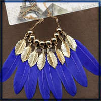China import cheap wholesale fashion necklace jewelry new trendy European and American feather necklace