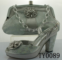 silver shoes and bags to match women for wedding Designer sandals