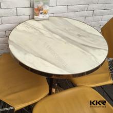 Mesa de acero inoxidable base con superficie sólida compuesto mesa de comedor de mármol conjunto