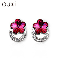 OUXI 2015 Fashion crystal airplane earrings made Austrian crystal crown stud earrings 20788