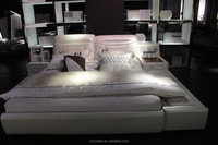 Sound intelligence USB bedroom furniture leather bed made in china