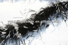 black with white tips curly ostrich feather boas cheap
