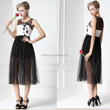 Wholesale Party Designer Black and White See Through Fashion Dress