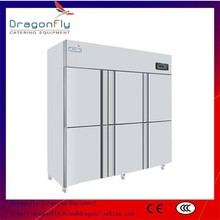 Big Volume 6 Door Stainless Steel Commercial Refrigerator with CE
