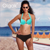 Olgak Own Design Brazil Seamless Solid Color Thick Bra Bikini With Accessories