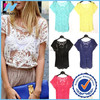 Women Summer Sexy Hollow-Out Blouse Embroidered Floral Lace Crochet Short Sleeve Shirt knitwear lace tops