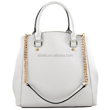 Shoulder bag and handbag with smile puppy trapezoid shape pure white lichee pattern pu hand bag