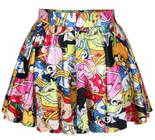 High Quality Colored Cartoon Printed Cute Short Mini Skirt for Young Girls