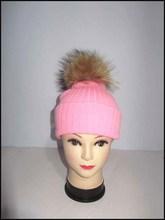 winter knit wool with raccoon fur fur pom pom hats