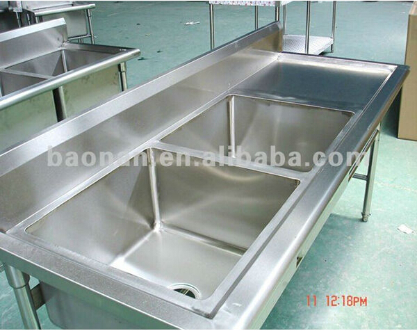 Commercial Stainless Steel Double Bowl Kitchen Sink With Drainboard ...