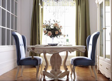 JLB054 romatic Vitoria queen elegant ivory white solid wood 6 chairs round dining table antique rococo dining room furniture set