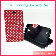 For Samsung Galaxy S4 I9500 PU Leather Case ,Luxury Wallet Flip Leather Case Cover For Galaxy S4 I9500