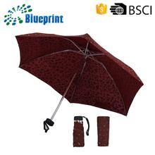 promotion fashion ladies gift bag size packet compact aluminium small 5 fold super mini umbrella in case