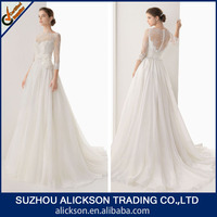 2014 Fairy A Line Sweep Train Drop Waist Chiffon And Lace Wedding Dress With Sleeves