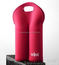 Customized neoprene double wine bottle sleeve cover carrier tote bag